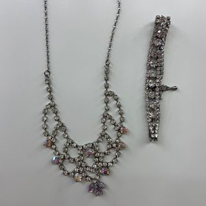 Faux diamond necklace and bracelet